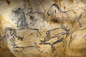 prehistoric stone engraving of horses, cattle found in france