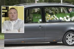 bradley welsh funeral takes place in edinburgh with green 'hibs' coffin for tragic t2 star