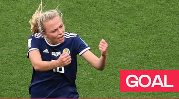 women's world cup 2019: claire emslie thunders the ball past karen bardsley as scotland make it 2-1 against england.