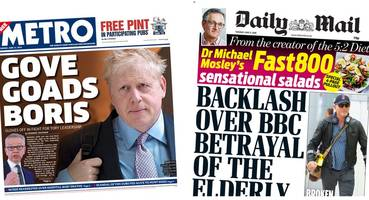 The Papers: 'Gove goads Boris' and the BBC faces 'backlash'