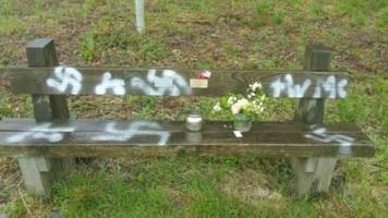 swastikas sprayed on d-day veterans' bench at twyford woods