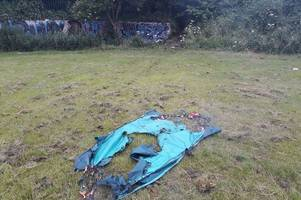 teenage girls set fire to homeless man's tent in park
