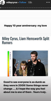 See photo: Miley Cyrus wishes Liam Hemsworth a happy 10th anniversary