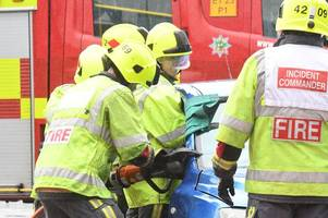 watch how fire-fighters rescue trapped passengers from a vehicle