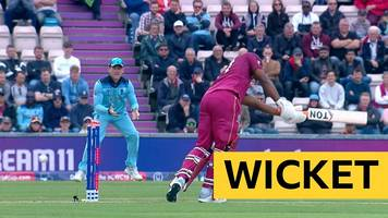 Cricket World Cup: England's Chris Woakes bowls West Indies' Evin Lewis