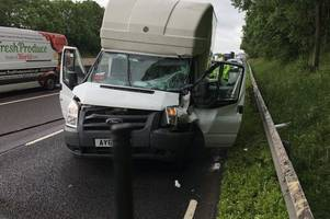 man trapped on m6 after serious crash involving lorry and van