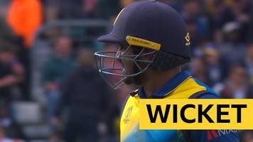cricket world cup: australia take their first wicket as perera is bowled by starc