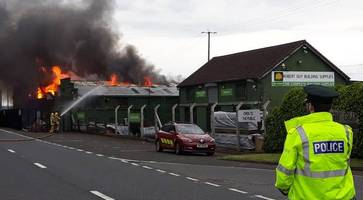 Firefighters remain at scene of Ballymena business blaze