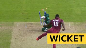 cricket world cup: bangladesh's tamim iqbal run out by west indies' sheldon cottrell