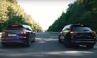 tuned porsche cayenne turbo drag races jeep trackhawk, knockout follows
