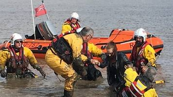 cleethorpes: stuck teens saved from mud as tide comes in