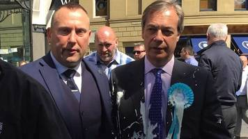 nigel farage milkshake attack caught on newcastle cctv