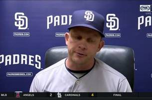 padres skipper andy green inside the clubhouse after 6-3 loss