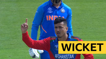 cricket world cup: india's rohit sharma bowled by afghanistan's mujeeb ur rahman