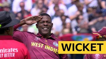 cricket world cup: new zealand's martin guptill is trapped lbw on the first ball against west indies