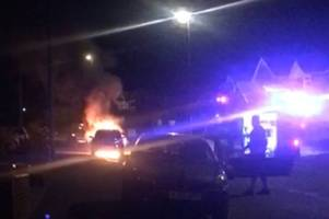 Dramatic pictures show moment car bursts into flames in Derby