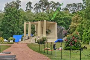 large film set spotted near ruins at great windsor park in virginia water