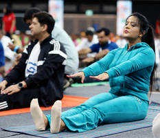 international yoga day: amruta fadnavis spotted performing yoga asanas