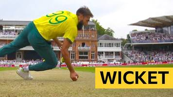 cricket world cup: tahir takes a magnificent reaction catch off his own bowling to see off imam