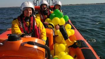 'norwich city' balloons picked up by lifeboat off norfolk coast