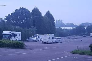 travellers move to busy park and ride site