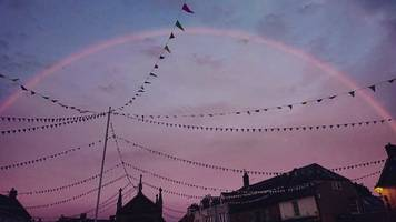 pink rainbows spotted over south and west of england