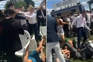 shocking moment mass royal ascot brawl erupts as queen watches horses nearby