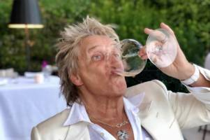 celtic-daft rod stewart drinks wine and says 'life is good for this hoops fan'