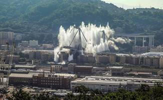 genoa bridge demolished in dramatic explosion, 10 months after lethal collapse