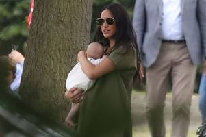 meghan markle spotted with archie as kate middleton takes the kids to the polo