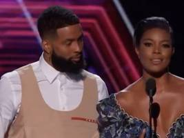 look: odell beckham jr. cuts off his signature blond hair + internet flames his girl scout-looking espys outfit
