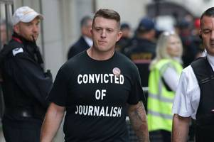 police make eight arrests after tommy robinson supporters stampede bbc journalist's team and hurl missiles at police