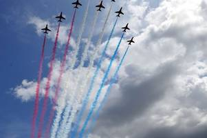 watch the moment the red arrows soared over gchq as prince charles visited cheltenham