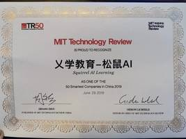 squirrel ai learning by yixue group ranked among mit tr 50, a list of 50 smartest companies