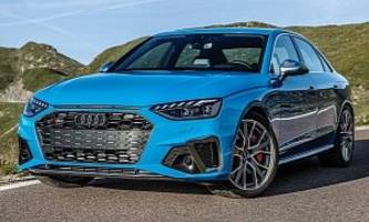 turbo blue 2020 audi s4 tdi is a cool sedan, exhaust is fake on one side
