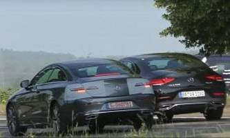 2021 e-class coupe facelift spied next to cls, makes for easy comparison