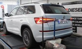 modified skoda kodiaq rs makes 290 hp, 580 nm of torque and really moves