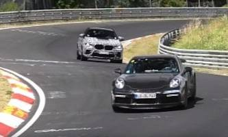 new bmw x6 m hunts down 992 porsche 911 turbo on nurburgring, chase is wild