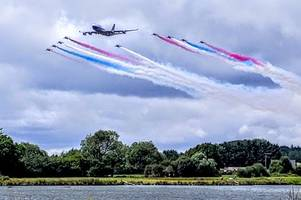 riat 2019: watch the moment a boeing 747 performed a flypast with the red arrows to mark british airways' centenary