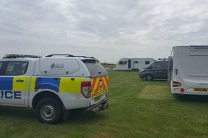 police close children's play area after travellers pitch up and use it 'as a toilet'