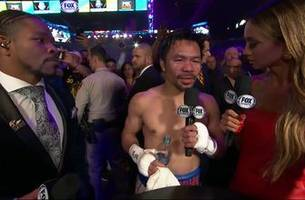 Manny Pacquiao speaks with Kate Abdo and Shawn Porter after his split-decision victory