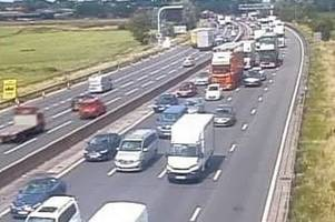 updates: m6 closed due to 'serious collision' in staffordshire