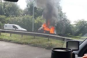 A50 closed due to car fire in North Staffordshire