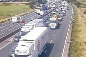 m6 closed in staffordshire after serious collision