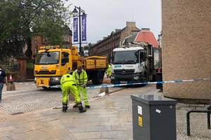 kilmarnock street closed off due to suspected fuel leak after 'truck collides with bollard'