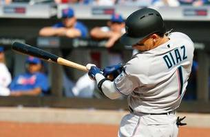 Isan Díaz hits HR off deGrom in MLB debut, Marlins drop 1st of doubleheader to Mets
