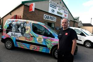 the boss who has transformed his factory - and van - into a beatles fan's paradise