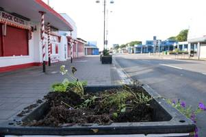 see the mess that's been made after flowers were pulled out on cleethorpes promenade