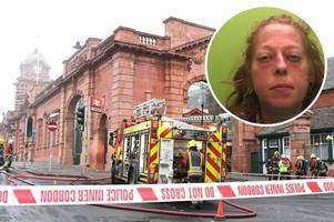 nottingham station arsonist jailed as cctv released of her walking away from the fire