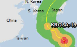Green alert for tropical cyclone KROSA-19. Population affected by Category 1 (120 km/h) wind speeds or higher is 0.
